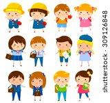 school kids of different ages... | Shutterstock . vector #309126848