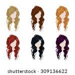 set of female hair style....