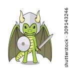 vector mascot of a cute dragon... | Shutterstock .eps vector #309143246