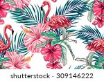 pink flamingos  tropical... | Shutterstock .eps vector #309146222