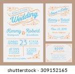 letterpress wedding invitation...   Shutterstock .eps vector #309152165