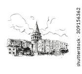 galata tower hand drawn  vector ... | Shutterstock .eps vector #309156362