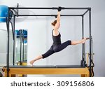 pilates woman in cadillac legs... | Shutterstock . vector #309156806