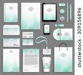 aqua and grey corporate... | Shutterstock .eps vector #309156896