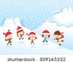 winter kids | Shutterstock .eps vector #309165332