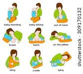 woman breastfeeding a child in...   Shutterstock .eps vector #309170132