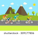 cyclists group at professional... | Shutterstock .eps vector #309177806