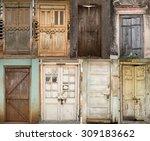 Set Of Old Doors  Old Wooden...