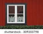 the white window in the old red ... | Shutterstock . vector #309203798