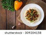 stir frying beef with sweet... | Shutterstock . vector #309204158