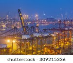 industrial port with containers | Shutterstock . vector #309215336