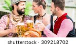 people with beer and pretzel in ... | Shutterstock . vector #309218702