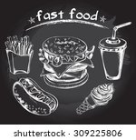 hand drawn set of fast food  ... | Shutterstock .eps vector #309225806