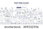 doodle concept of pay per click ... | Shutterstock .eps vector #309232556