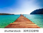 tourism concept. old wooden... | Shutterstock . vector #309232898