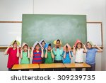 students holding books over... | Shutterstock . vector #309239735