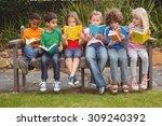 children reading from books... | Shutterstock . vector #309240392
