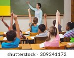 teacher asking a question to... | Shutterstock . vector #309241172