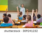 teacher asking a question to... | Shutterstock . vector #309241232