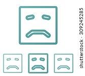 teal line sad logo design set
