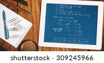 Small photo of Rocket science theory against desk with tablet pc