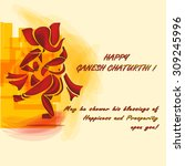 happy ganesh chaturti in a... | Shutterstock .eps vector #309245996