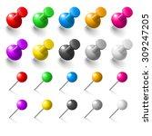set of pushpins on white... | Shutterstock .eps vector #309247205
