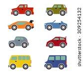 flat funny cartoon road...   Shutterstock .eps vector #309254132