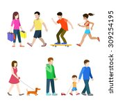 Stock vector flat high quality city pedestrians icon set shopper runner dachshund hound dog walker dad son 309254195