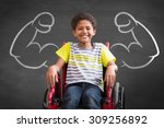 cute disabled pupil smiling at... | Shutterstock . vector #309256892