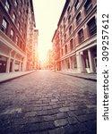 cobbled soho street in new york ... | Shutterstock . vector #309257612