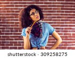 daydreaming attractive hipster... | Shutterstock . vector #309258275