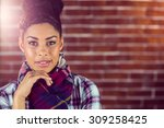 portrait of a beautiful hipster ... | Shutterstock . vector #309258425