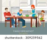 flat style family breakfast... | Shutterstock .eps vector #309259562