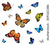 autumn pattern with butterflies | Shutterstock . vector #309261386