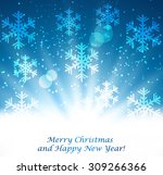 abstract christmas blue... | Shutterstock .eps vector #309266366
