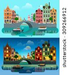 Stock vector flat cartoon multicolor colorful historic buildings city town set day and sunset night amsterdam 309266912