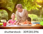 teacher helping pupils in... | Shutterstock . vector #309281396