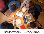 top view of group of colleagues ... | Shutterstock . vector #309290066