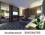 Stock photo luxury hotel room with nice decoration 309296705