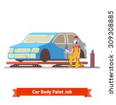 car body paint job. painting... | Shutterstock .eps vector #309308885