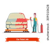 specialist spray painting auto... | Shutterstock .eps vector #309310628