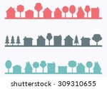 small town vector silhouettes... | Shutterstock .eps vector #309310655