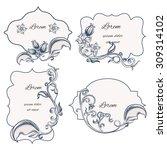 set of floral ornament frame... | Shutterstock .eps vector #309314102