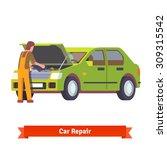 car mechanic in uniform... | Shutterstock .eps vector #309315542