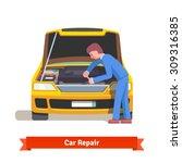 car mechanic under the hood in... | Shutterstock .eps vector #309316385