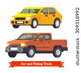 pickup truck and middle sized... | Shutterstock .eps vector #309318992