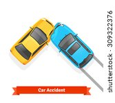 frontal 90 degree car crash...   Shutterstock .eps vector #309322376