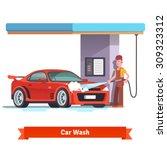 car wash specialist in uniform...   Shutterstock .eps vector #309323312