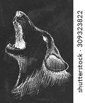 hand drawn howls wolf on black... | Shutterstock .eps vector #309323822